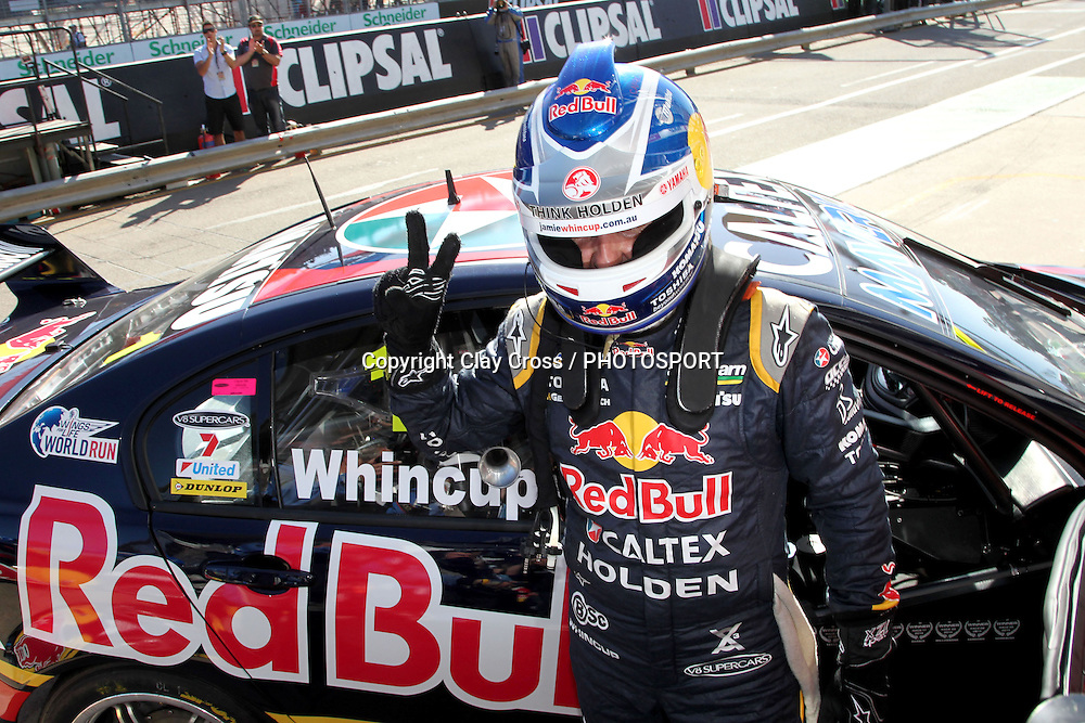 Jamie Whincup (Red Bull Racing Holden) winner of the 2014 Clipsal 500 Adelaide ~ V8 Supercar Series Race 1 held on the Adelaide Parklands Circuit, South Australia on Saturday 1 March 2014. Photo: Clay Cross / photosport.co.nz