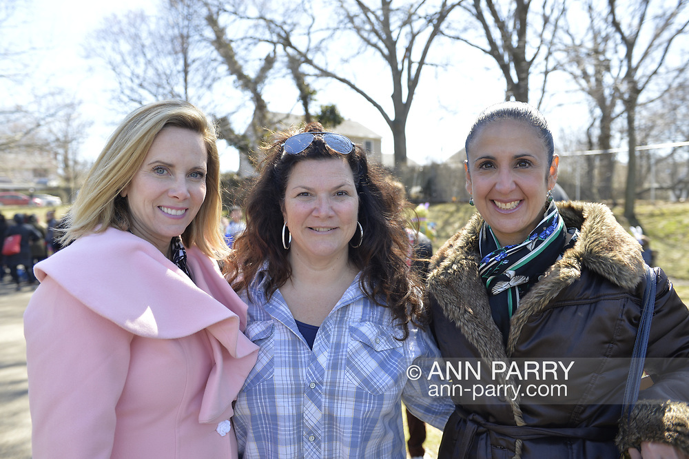 North Merrick, New York, USA. March 31, 2018. L-R, Town of Hempstead Supervisor LAURA GILLEN, WENDY GARGIULO, President of the North Merrick Board of Education; and Hempstead Town Clerk SYLVIA CABANA pose at the Annual Eggstravaganza, held at Fraser Park.