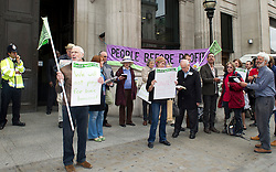 ©under licence to London News Pictures. 18/05/11. London, UK  . Campaigners from Lewisham, Camden & Swindon assemble to protest against the cuts at Department of Culture, Media and Sport, and then delivered a petition to 10 Downing Street. Please see special instructions for usage rates. Photo credit should read TONY NANDI/LNP