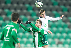 Andraz Sporar #10 of Olimpija vs Bruno Marotti #18 of Krka during football match between NK Olimpija Ljubljana and NK Krka in 18th Round of Prva liga Telekom Slovenije 2015/16, on November 25, 2015 in SRC Stozice, Ljubljana, Slovenia. Photo by Vid Ponikvar / Sportida