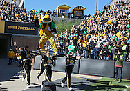 September 22 2012: Iowa Hawkeyes mascot Herky takes the field before the start of the NCAA football game between the Central Michigan Chippewas and the Iowa Hawkeyes at Kinnick Stadium in Iowa City, Iowa on Saturday September 22, 2012. Central Michigan defeated Iowa 32-31.