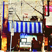 Al's Breakfast in Dinky Town at the U of M with digital art effects and abstract elements