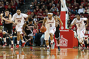 November 30, 2013: Terran Petteway (5) of the Nebraska Cornhuskers goes for a fast break against the Northern Illinois Huskies at the Pinnacle Bank Areana, Lincoln, NE. Nebraska defeated Northern Illinois 63 to 58.