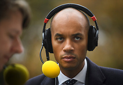 © Licensed to London News Pictures. 15/11/2018. London, UK. Labour MP and Remain campaigner CHUKA UMUNNA is seen during a radio interview in Westminster the day after Cabinet agreed to back Prime Minister Theresa May's deal on Brexit. Photo credit: Ben Cawthra/LNP