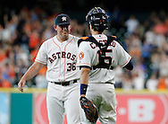 Jun 22, 2016; Houston, TX, USA; Houston Astros relief pitcher Will Harris (36) is congratulated by catcher Jason Castro (15) after defeating the Los Angeles Angels at Minute Maid Park. Astros won 3 to 2. Mandatory Credit: Thomas B. Shea-USA TODAY Sports
