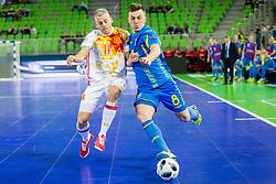 Taras Korolyshyn of Ukraine and Miguelin of Spain during futsal match between Ukraine and Spain in Quaterfinals of UEFA Futsal EURO 2018, on February 6, 2018 in Arena Stozice, Ljubljana, Slovenia. Photo by Ziga Zupan / Sportida