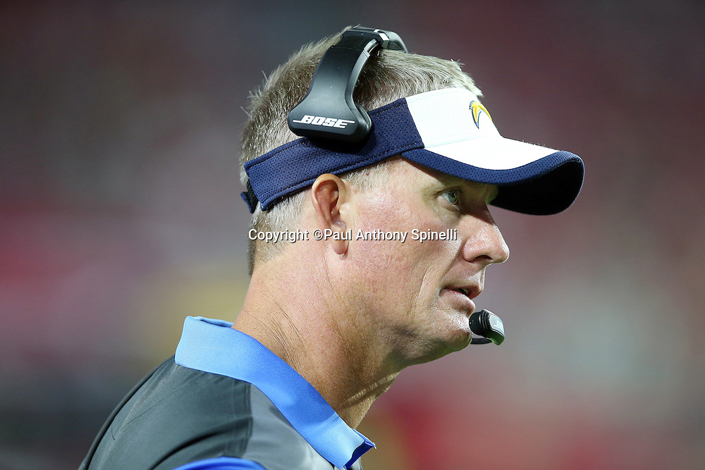San Diego Chargers head coach Mike McCoy looks on from the sideline during the 2015 NFL preseason football game against the Arizona Cardinals on Saturday, Aug. 22, 2015 in Glendale, Ariz. The Chargers won the game 22-19. (©Paul Anthony Spinelli)