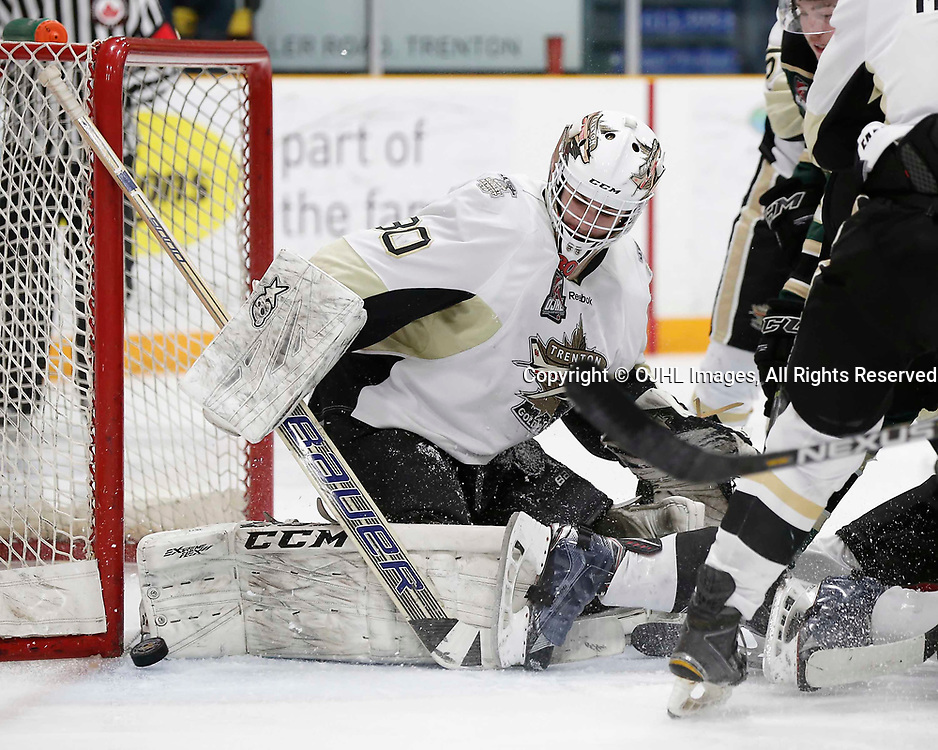 TRENTON, ON - APR 4,  2017: Ontario Junior Hockey League, North East Conference Championship game between Trenton Golden Hawks and the Cobourg Cougars. Elliot Gerth #30 of the Trenton Golden Hawks makes the save during the first overtime period<br /> (Photo by Amy Deroche / OJHL Images)