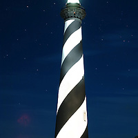 19 August 2005:   A long exposure light painting done at the Cape Hatteras Lighthouse at Cape Point in Buxton, North Carolina on August 19, 2005.