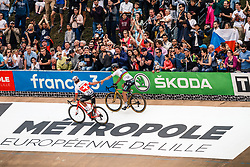 Peter SAGAN of Bora-Hansgrobe wins the 2018 Paris-Roubaix, 2nd place for Silvan DILLIER of AG2R La Mondiale during the 2018 Paris-Roubaix race, Velodrome Roubaix, France, 8 April 2018, Photo by Thomas van Bracht / PelotonPhotos.com | All photos usage must carry mandatory copyright credit (Peloton Photos | Thomas van Bracht)