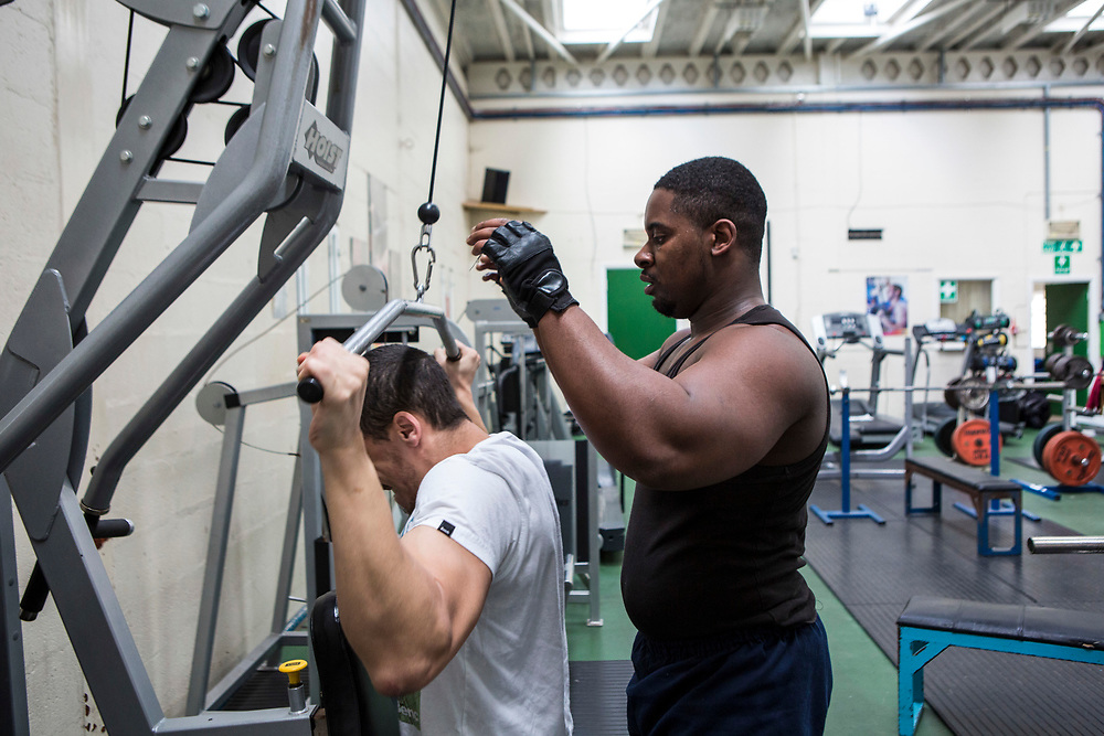 Prisoners get 2 sessions working out in the gym a week. HMP/YOI Portland, Dorset. A resettlement prison with a capacity for 530 prisoners. Portland, Dorset, United Kingdom.