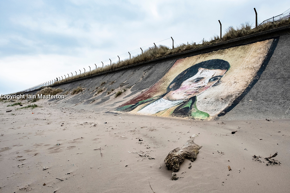 Mural of Robert Burns  ( by Gavin McInnes) painted on seawall at Ardeer in Ayrshire, Scotland, united kingdom