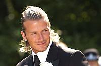 David Beckham best man at wedding of  Davinia Taylor and Dave Gardener at St Johns Church Chelford Cheshire. 13/07/2003<br />Photo: Digitalsport