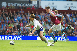 BIRMINGHAM, ENGLAND - Saturday, August 25, 2012: Everton's Nikica Jelavic is fouled by Aston Villa's last man Ciaran Clark, whio was subsequently sent off, during the Premiership match at Villa Park. (Pic by David Rawcliffe/Propaganda)