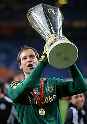 File photo dated 15-05-2013 of Chelsea goalkeeper Petr Cech celebrates with the UEFA Europa League trophy