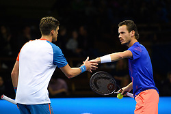 October 20, 2018 - Stockholm, SVERIGE - 181020 .Hollands Wesley Koohof och Nya Zeelands Julien Beeneteau under en semifinal av tennisturneringen Stockholm Open den 20 oktober 2018 i Stockholm  (Credit Image: © Simon HastegRd/Bildbyran via ZUMA Press)