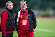 (L) Malgorzata Strzalkowska - Sports Director of Special Olympics Poland & (R) Jacek Ciekalski - medical doctor Athletes Leadership Program Workshop on Unified Sports Training Session during the 2013 Special Olympics European Unified Football Tournament in Warsaw, Poland.<br /> <br /> Poland, Warsaw, June 06, 2012<br /> <br /> Picture also available in RAW (NEF) or TIFF format on special request.<br /> <br /> For editorial use only. Any commercial or promotional use requires permission.<br /> <br /> <br /> Mandatory credit:<br /> Photo by © Adam Nurkiewicz / Mediasport