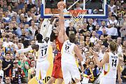 DESCRIZIONE : Berlino Berlin Eurobasket 2015 Group B Germany Spain<br /> GIOCATORE :  Nikola Mirotic<br /> CATEGORIA : Controcampo schiacciata difesa mani<br /> SQUADRA :Spain<br /> EVENTO : Eurobasket 2015 Group B <br /> GARA : Germany Spain<br /> DATA : 10/09/2015 <br /> SPORT : Pallacanestro <br /> AUTORE : Agenzia Ciamillo-Castoria/I.Mancini <br /> Galleria : Eurobasket 2015 <br /> Fotonotizia : Berlino Berlin Eurobasket 2015 Group B Germany Spain