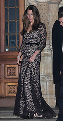 The Duchess of Cambridge departs alongside Prince William as they attend a 3D screening of Alive at the Natural HIstory Museum. Natural History Museum, London, United Kingdom. Wednesday, 11th December 2013. Picture by i-Images