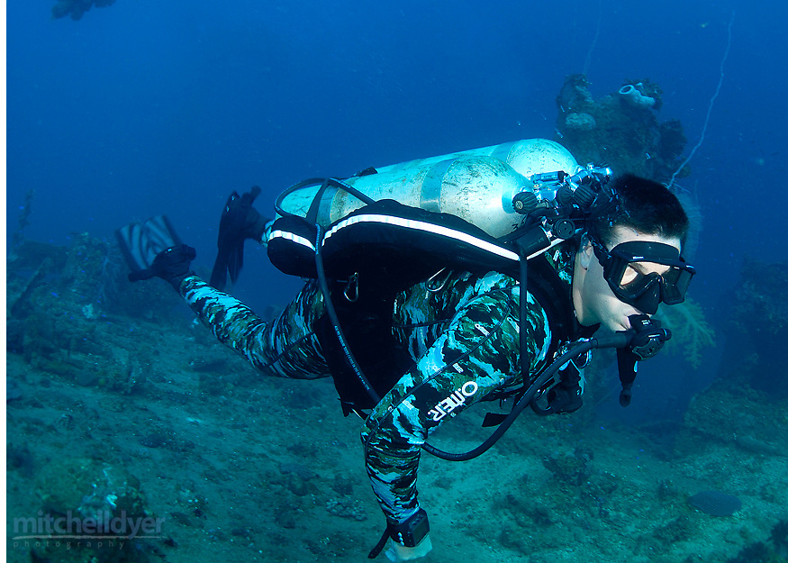 Jeremy Conklin scuba diving in Truk Lagoon, Federarted States Micronesia