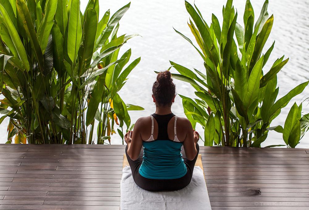 A yoga instructor meditates at Jicaro Island Ecolodge, Granada, Nicaragua