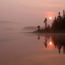 Misty sunrise on East Inlet, Pittsburg, New Hampshire.  Connecticut River Headwaters region.