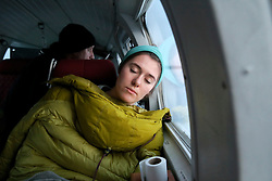 NORWAY BARENTS SEA 6DEC15 - Greenpeace campaigner Larissa Baeumer of Germany during the survey flight to the production platform Goliat in the Barents Sea operated by Italian energy compay Eni. It is the world's most northerly oil production platform.<br /> <br /> jre/Photo by Jiri Rezac / Greenpeace<br /> <br /> © Jiri Rezac 2015