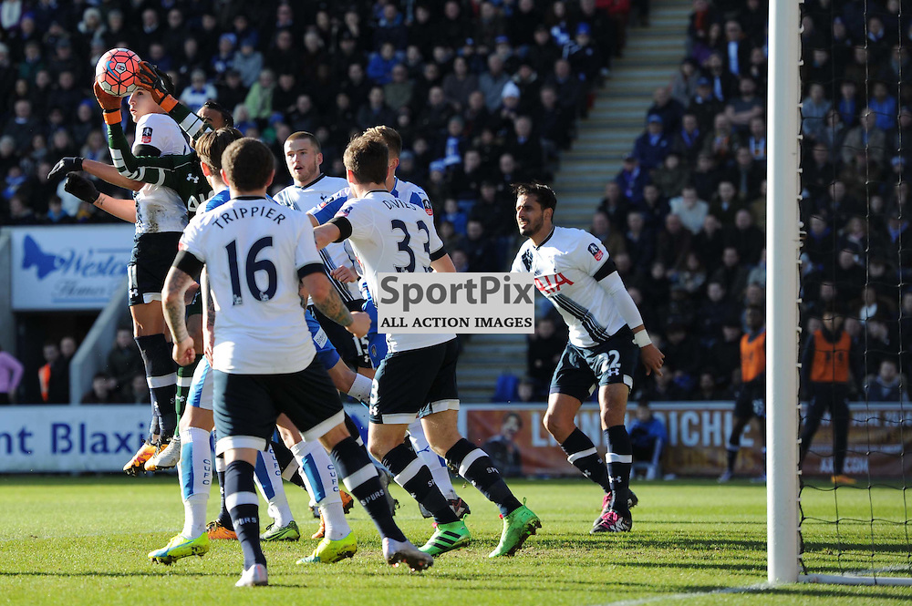 Tottenhams Michel Vorm catches the ball during the Colchester v Tottenham game in the FA Cup 4th Round on the 30th January 2016.