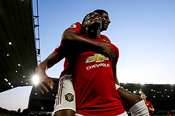 Anthony Martial of Manchester United celebrates with Marcus Rashford after scoring a goal to make it 1-0 - Mandatory by-line: Robbie Stephenson/JMP - 19/08/2019 - FOOTBALL - Molineux - Wolverhampton, England - Wolverhampton Wanderers v Manchester United - Premier League