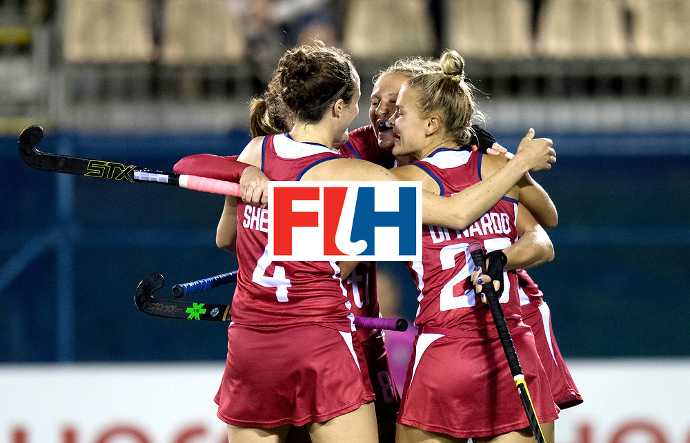 AUCKLAND - Sentinel Hockey World League final women<br /> Match id: 10300<br /> 10 New Zealand v USA<br /> Foto: 0-1 celebration <br /> WORLDSPORTPICS COPYRIGHT FRANK UIJLENBROEK