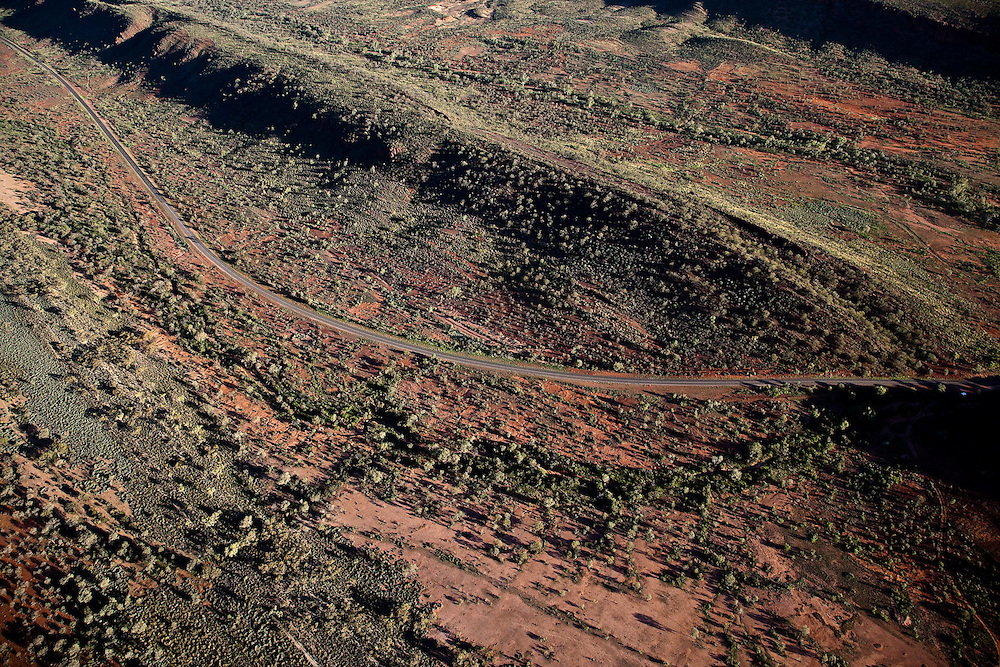 Aerial View of Larapinta Drive winding through the West MacDonnell Ranges, Central Australia