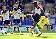 Picture by Chris Donnelly/Focus Images Ltd. 07500 903009 .17/9/11.Dedryck Boyata of Bolton has a close shot during the Barclays Premier League match at Reebok stadium, Bolton.