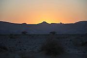 Israel, Aravah Desert Landscape at sunset