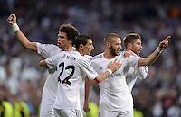 FUSSBALL  CHAMPIONS LEAGUE  HALBFINAL  HINSPIEL  SAISON 2013/2014    Real Madrid - FC Bayern Muenchen       23.04.2014 Freude nach dem 1:0: Pepe, Angel Di Maria, Karim Benzema und Sergio Ramos (v.l., alle Real Madrid)