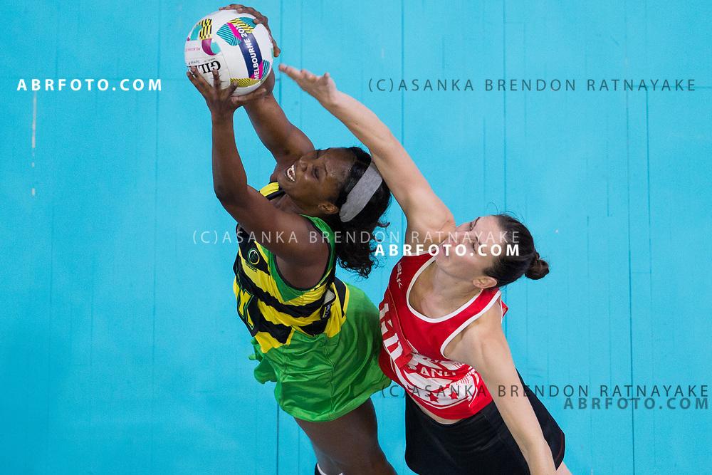 Rachel Dunn intercepts during Australia Vs Jamaica Fast5 Netball.