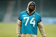 Cam Robinson (OL) of the Jacksonville Jaguars (74)during the Media day / training session / press conference for Houston Texans at London Irish Training Ground, Hazelwood Centre, United Kingdom on 1 November 2019.