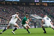 Twickenham, United Kingdom.   Natwest 6 Nations : England vs Ireland. Garry Ringrose, attempts to go for the gap between 17 Joe Marler, and  R 18 Dan Cole, at the  RFU Stadium, Twickenham, England, <br /> <br /> Saturday   17.03.18<br /> <br /> [Mandatory Credit; Peter Spurrier/Intersport-images]