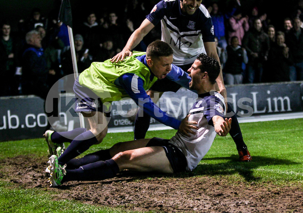 Stephen McLaughlin of Southend United scores to make it 2-1 during the Sky Bet League 2 Play-Off 2nd leg match between Southend United and Stevenage at Roots Hall, Southend, England on 14 May 2015. Photo by Ken Sparks.