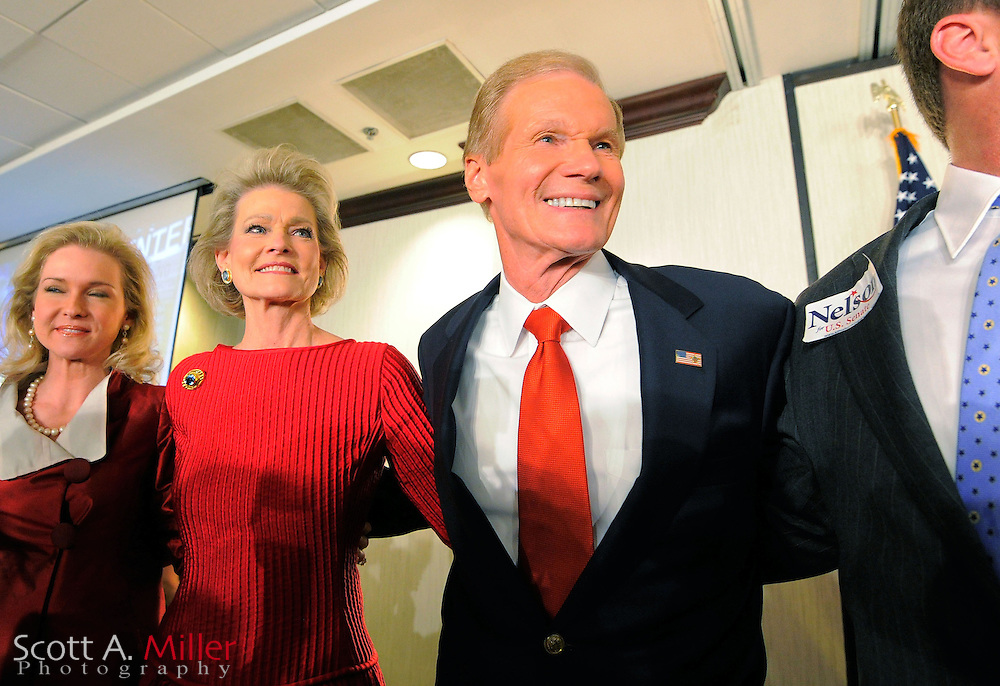 U.S. Sen. Bill Nelson West (R-FL) and his wife, Grace, during his victory rally in Orlando, Florida, November 6, 2012.  ©2012 Scott A. Miller