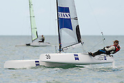 Andrew Landenberger (AUS308), race seven of the A Class World championships regatta being sailed at Takapuna in Auckland. 15/2/2014
