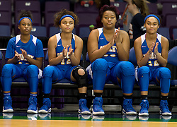 Dudley's Kierra Beasley, Teara Johnson, Shaquasia Taylor & Sequoyah Johnson awaiting player introductions at the 2016 HAECO Invitational