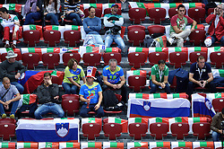 Supporters of Slovenia during volleyball match between National teams of Poland and Slovenia in Quarterfinals of 2015 CEV Volleyball European Championship - Men, on October 14, 2015 in Arena Armeec, Sofia, Bulgaria. Photo by Ronald Hoogendoorn / Sportida