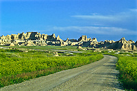 The Old Northeast Road leading to the Cedar Pass Area.  Badlands National Park, South Dakota.