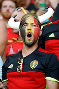 Belgium fan singing before the Euro 2016 match between Sweden and Belgium at Stade de Nice, Nice, France on 22 June 2016. Photo by Andy Walter.