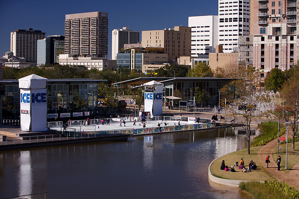 Stock photo of an aerial daytime view of the ice skating rink during the holiday season