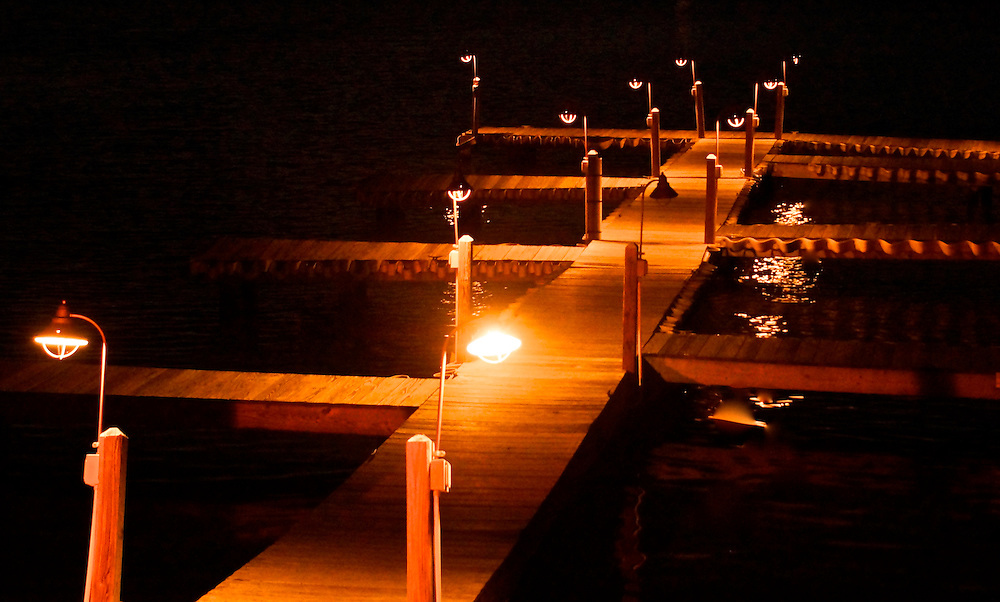 Poconos, Northeast Pennsylvania, Lake Harmony, Carbon County, Dock with Night Lights