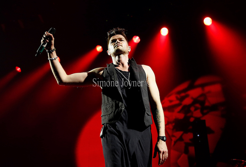Danny O'Donoghue of The Script performs live on stage at The O2 Arena on March 13, 2015 in London, England. (Photo by Simone Joyner)