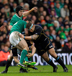 09.02.2013 Edinburgh, Scotland. Scotland's Ryan Grant Flattens Ireland's Rob Kearney    during the RBS Six Nations Championship match between Scotland and Ireland, from Murrayfield Stadium.
