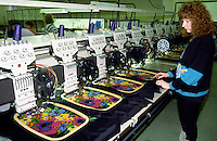 Woman operating an embroidery machine. SR Gent Barnsley. 26/2/1991.