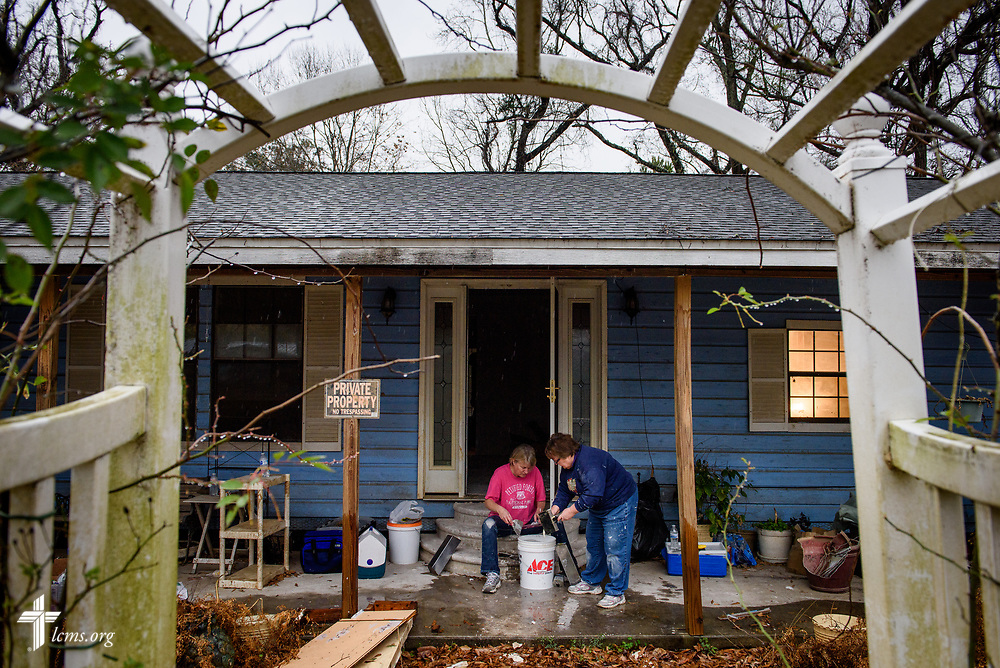 LCMS volunteers Joanne Theisen (seated) and Joyce Rehborg clean tools at a volunteer work site on Wednesday, Feb. 7, 2018, in Rose City, Texas. Recovery work is still underway almost six months after Hurricane Harvey devastated parts of Texas.  LCMS Communications/Erik M. Lunsford